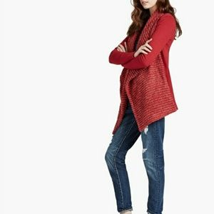 Lucky Brand Wool Blend Red Cardigan Sweater
